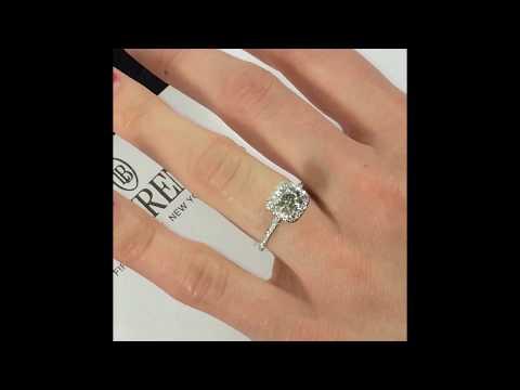 1 Carat Round Diamond Engagement Ring in Cushion Halo
