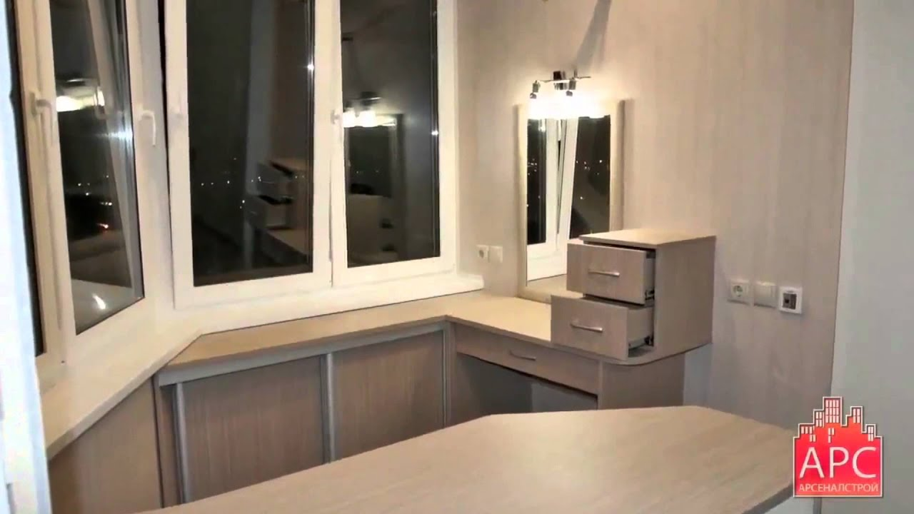 Встроенная мебель для рабочего кабинета на лоджии п-44т под .