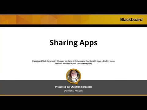 Sharing Apps in Blackboard Web Community Manager