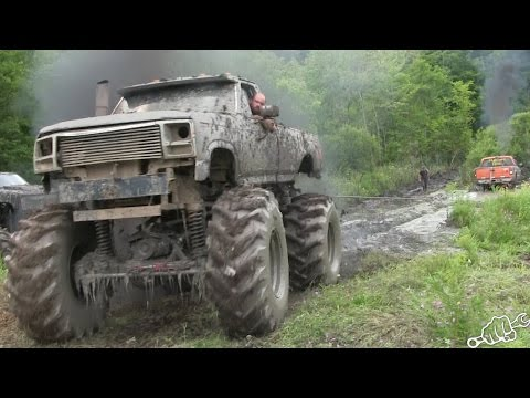 MEGA TRUCKS GO POWERLINE MUDDING in New York