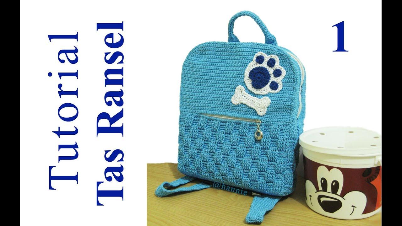Crochet Tutorial Merajut Tas Ransel Inner Backpack Basket Wanita Rajut Backpak 3 In 1 Weave Stitch Part Youtube