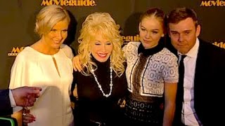 DOLLY PARTON greets RICKY SCHRODER and his family at Movieguide Awards in L.A. -- 2016