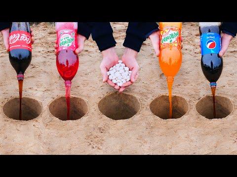 Experiment: Cola, Mirinda, Pepsi and Mentos Underground