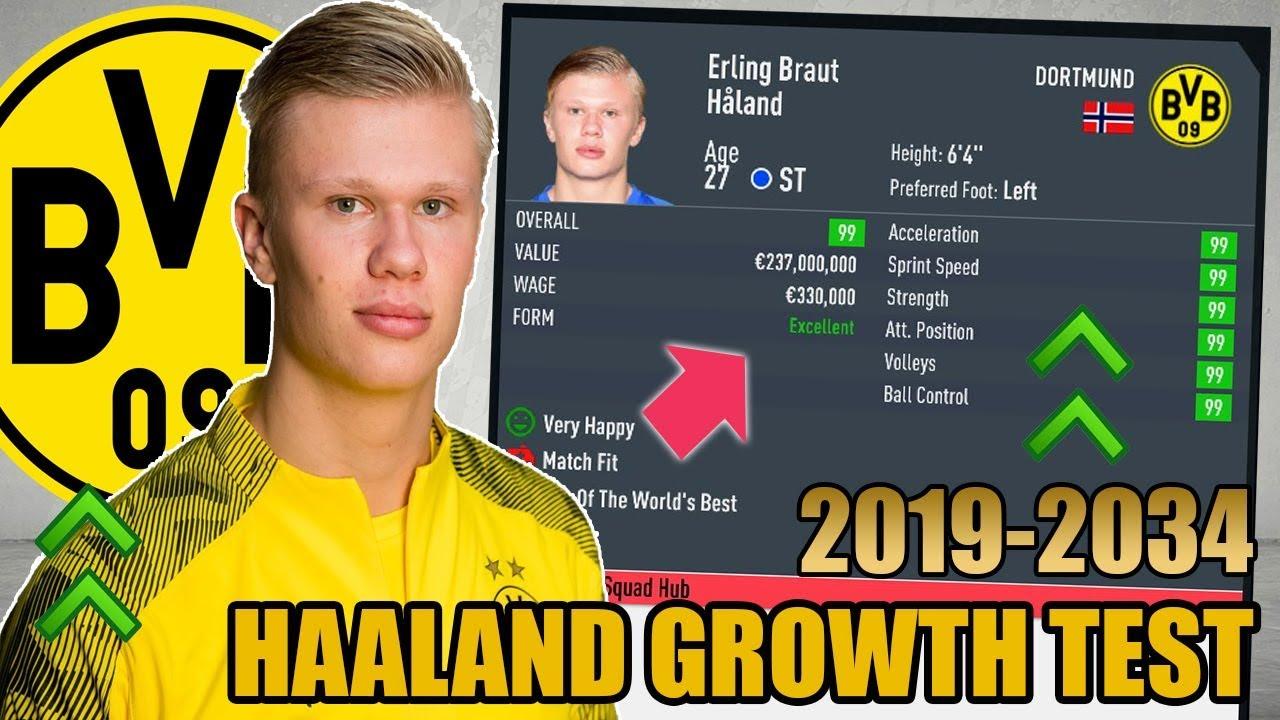 Erling Haaland Growth Test 2019 2034 Fifa 20 Dortmund Career Mode Youtube