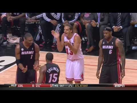 Chris Bosh yelling at Mario Chalmers Heat-Bulls Game 3