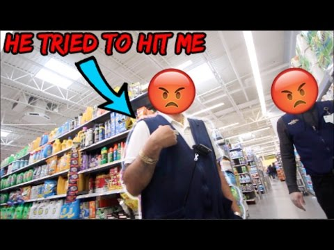 MESSING WITH WALMART EMPLOYEES! ( HE TRIED TO HIT ME)