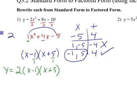 standard form vs factored form Q2.2 Standard Form to Factored Form