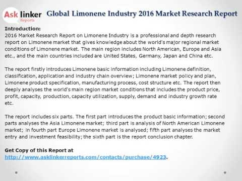 Global Limonene Market 2016 Product Specification and Cost Structure