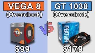 Vega 8 (Ryzen 3 2200G) Overclock vs GT 1030 (Pentium G4560) Overclock | 720p | New Games Benchmarks
