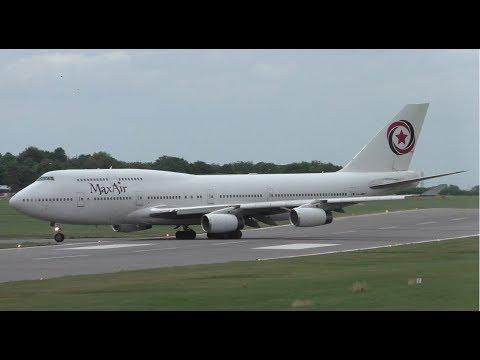 Max Air Boeing 747 5N-HMB Wheelie Landing at Cambridge Airport