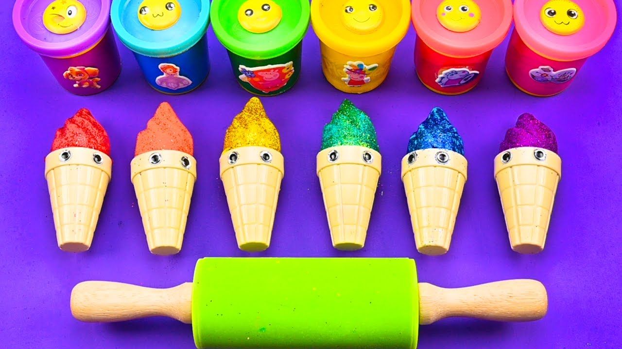 Satisfying Video l How To Make Many Molds with Playdoh Glitter Ice Cream Cone Cutting ASMR #272