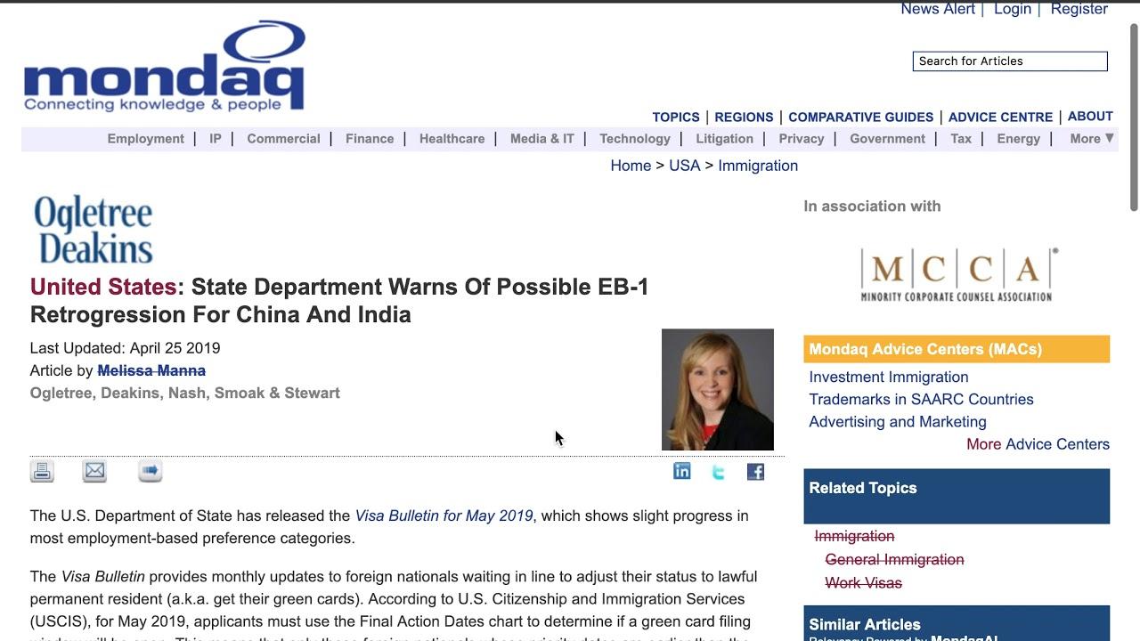 State Department Warns! Possible EB1 Retrogression  Eb1 green card