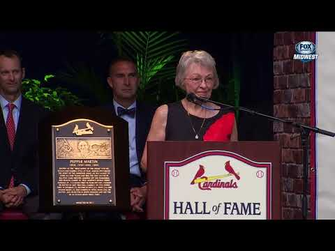 Jenny Weathersby, daughter of Pepper Martin, speaks at Cardinals Hall of Fame induction ceremony