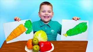 Learn names of Fruits and Vegetables with Pictures by GumGumChiki