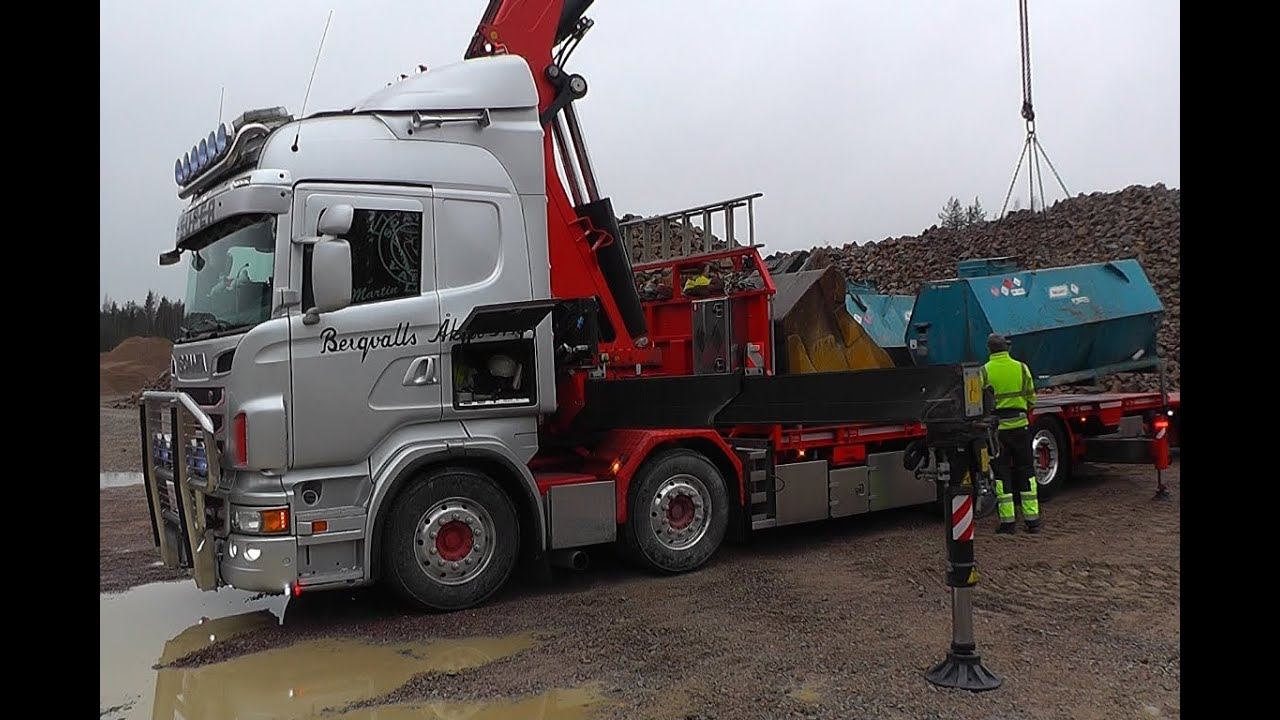 Scania R560 8x2 \8/ Sound With Fassi F950 Crane - YouTube