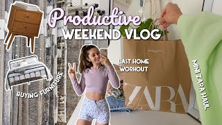 VLOG   BUYING FURNITURE, HOME WORKOUT, ZARA HAUL   a productive weekend!