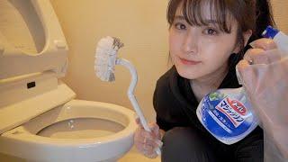 女の子、一人暮らしのトイレ掃除はこんな感じです。