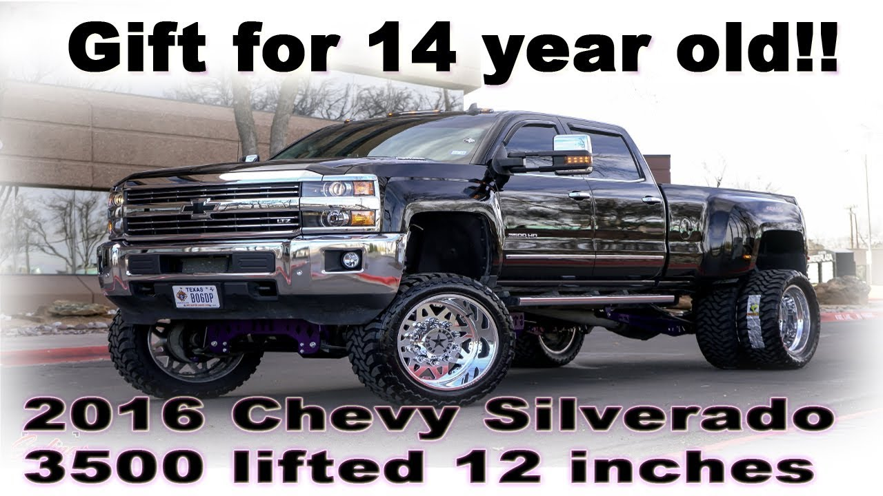 DAD GETS 14 YEAR OLD A 2016 CHEVY 3500 HD LIFTED 12 INCHES ON 24X12S ...
