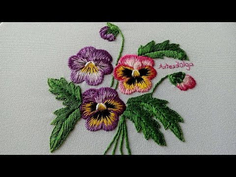 Hand Embroidery : Pansies with long and short stitch  ArtesdOlga