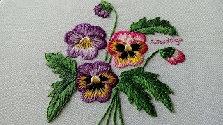Hand Embroidery : Pansies with long and short stitch | Artesd'Olga