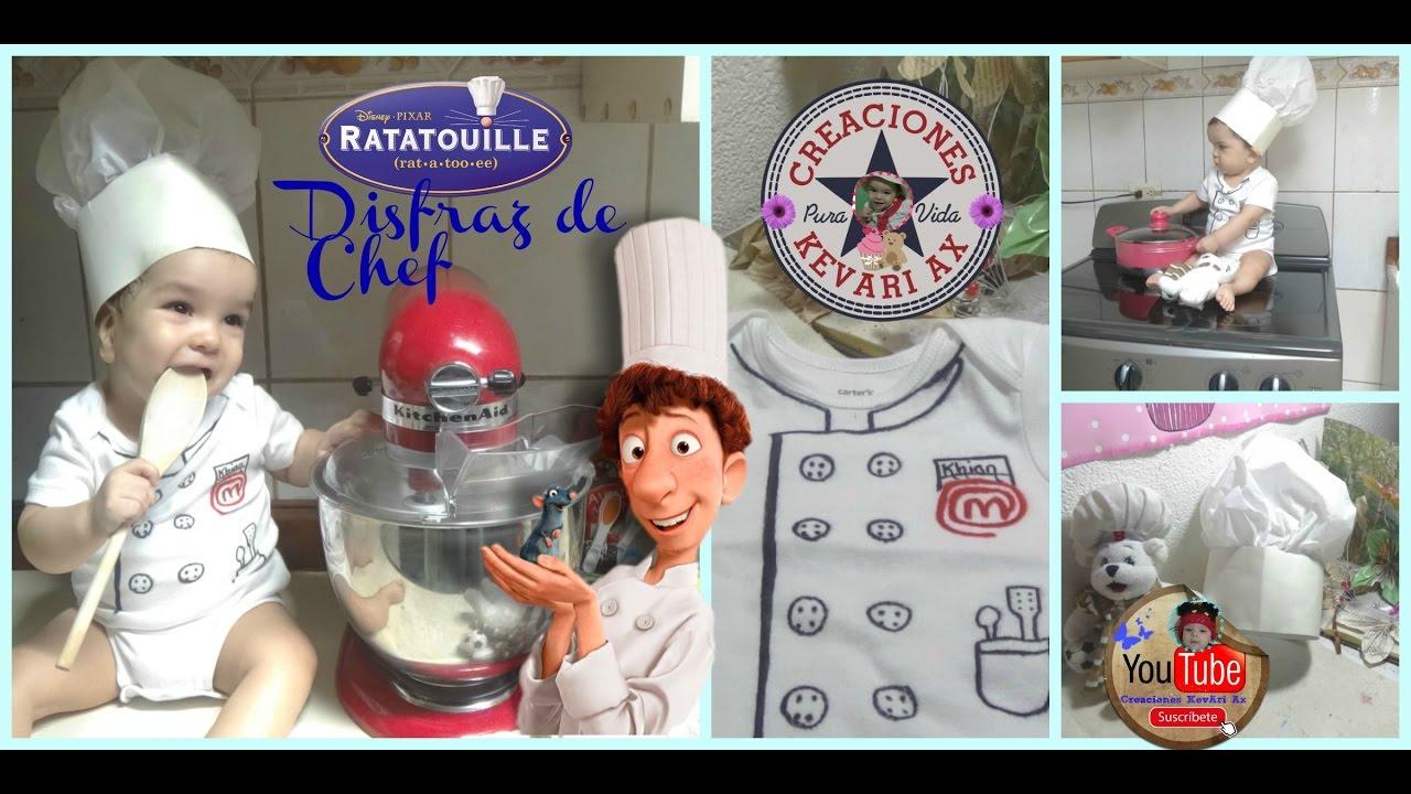 7152f7e5f74 Disfraz de Chef casero fácil Ratatouille/ Gorro o sombrero de Cocinero -  YouTube