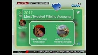 "24 Oras: Tambalan nina Alden Richards at Maine Mendoza, ""Most Tweeted Love Team"" ng 2017"