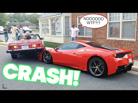 Woman CRASHES On Top of $400,000 Ferrari 458 Supercar!