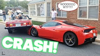 woman crashes on top of 400 000 ferrari 458 supercar