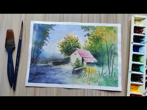 Watercolor Painting For Beginners – Village House Landscape | Paint with David