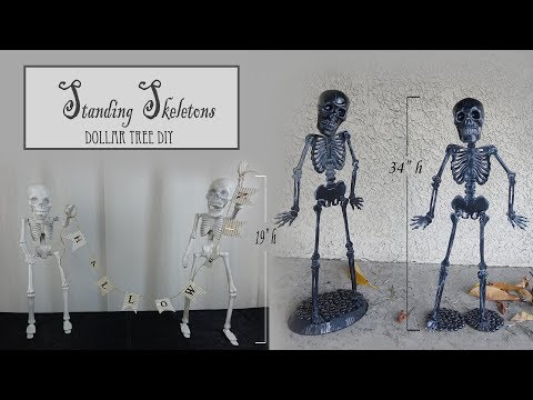 Halloween Standing Skeletons / Poseable Skeleton / Dollar Tree DIY