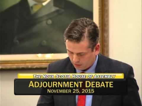 Joachim Stroink, MLA Halifax Chebucto speaks at Adjournment Debate on mental illness 11/25/15