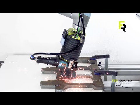 Automated deburring with ACF-Kit - Angle Grinder by FerRobotics