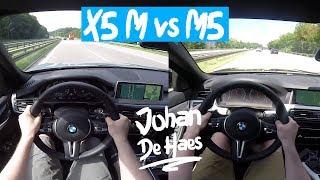 AUTOBAHN BMW X5 M 575 hp VS BMW M5 560 hp POV test drive