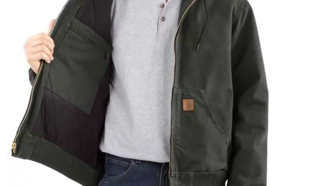 fa15251aee968 Review - Carhartt Men s Sandstone Duck Active Jacket Quilted Flannel Lined  J130 - YouTube