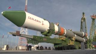 A Soyuz 2.1a Launch Vehicle with Progress MS-02 is Transported to the Pad