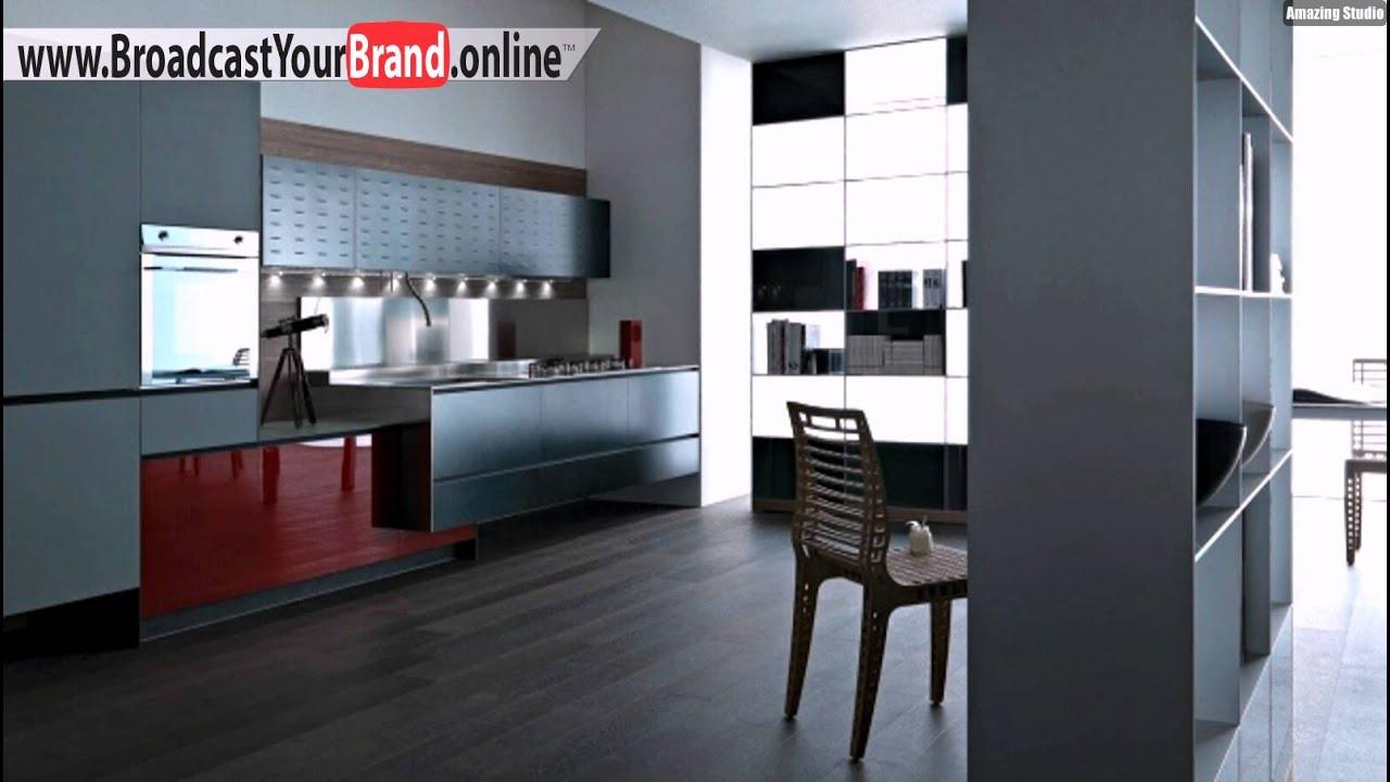 Valcucine Küchen Matt Grau Hochglanz Rot Akzent - YouTube