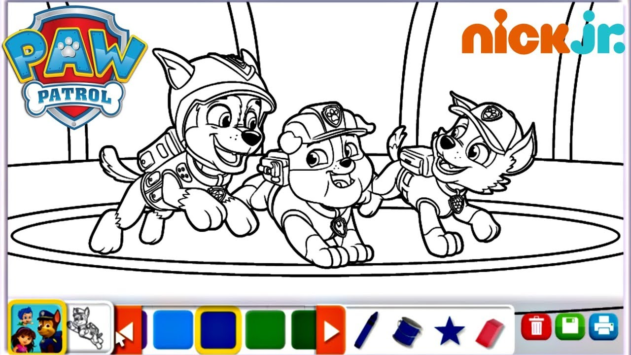 Paw Patrol Nick Jr Coloring Page Chase Rubble Rocky Digital Color ...