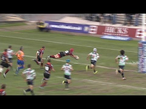 Tyler Morgan Stretches & Sidesteps for Try - Newport Gwent Dragons v Benetton Treviso 10th May 2014
