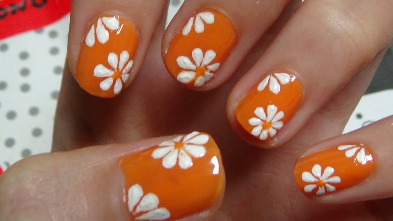 Easy Nails Art Design Using A Toothpick - Simple Flower Nail Art ...