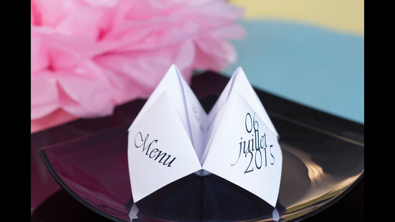 Diy d co de table menu origami pliage youtube - Pliage serviette porte menu ...