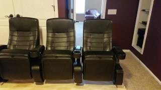 Small home theater setup with real movie theater seats. Part 1