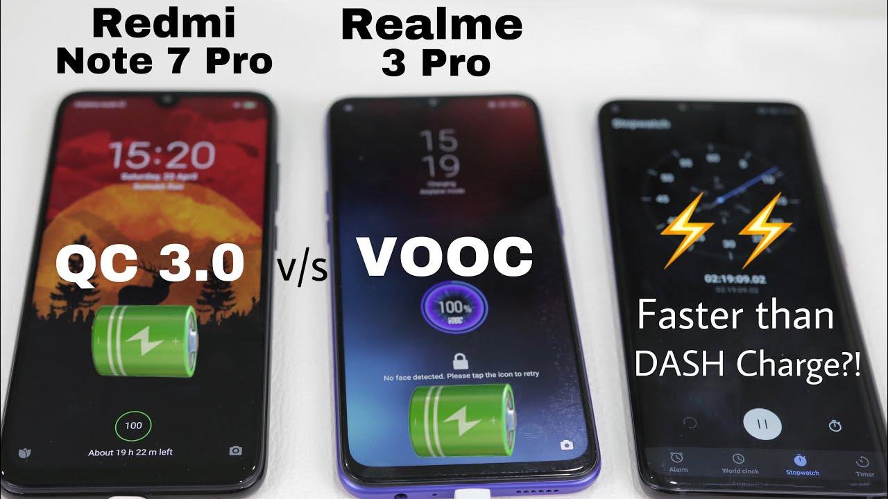 Realme 3 Pro vs Redmi Note 7 Pro Battery Charging Test! VOOC 3.0 vs QC3.0 #1