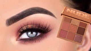Huda Beauty Nude MEDIUM Obsessions Eyeshadow Palette | Eye Makeup Tutorial