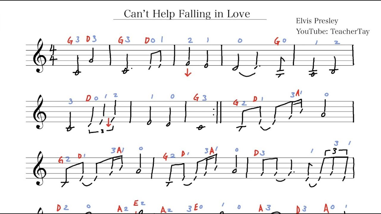 Can't Help Falling in Love Elvis Presley Violin Sheet Music w/ Tabs