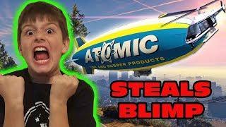 Kid Temper Tantrum STEALS Blimp- Takes DOWN Police Helicopter in GTA 5- Oh Shiitake Mushrooms