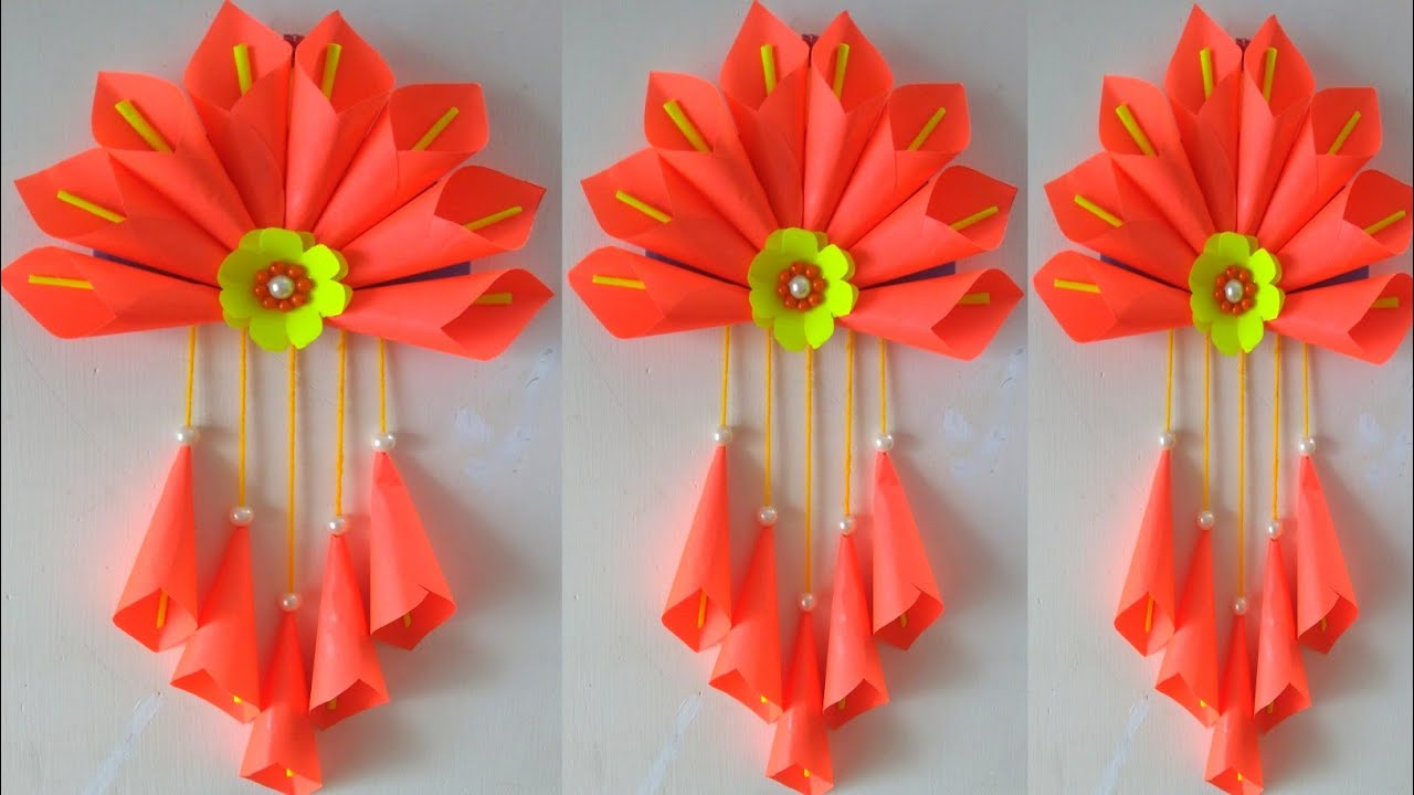 Paper Flower Wall hanging - Simple Wall Decoration Ideas - DIY Paper Craft Hanging - DIY Wall Decor