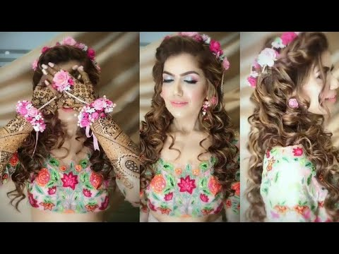 Stylish Crop Top And Skirt Dress With Jewellery Makeup And