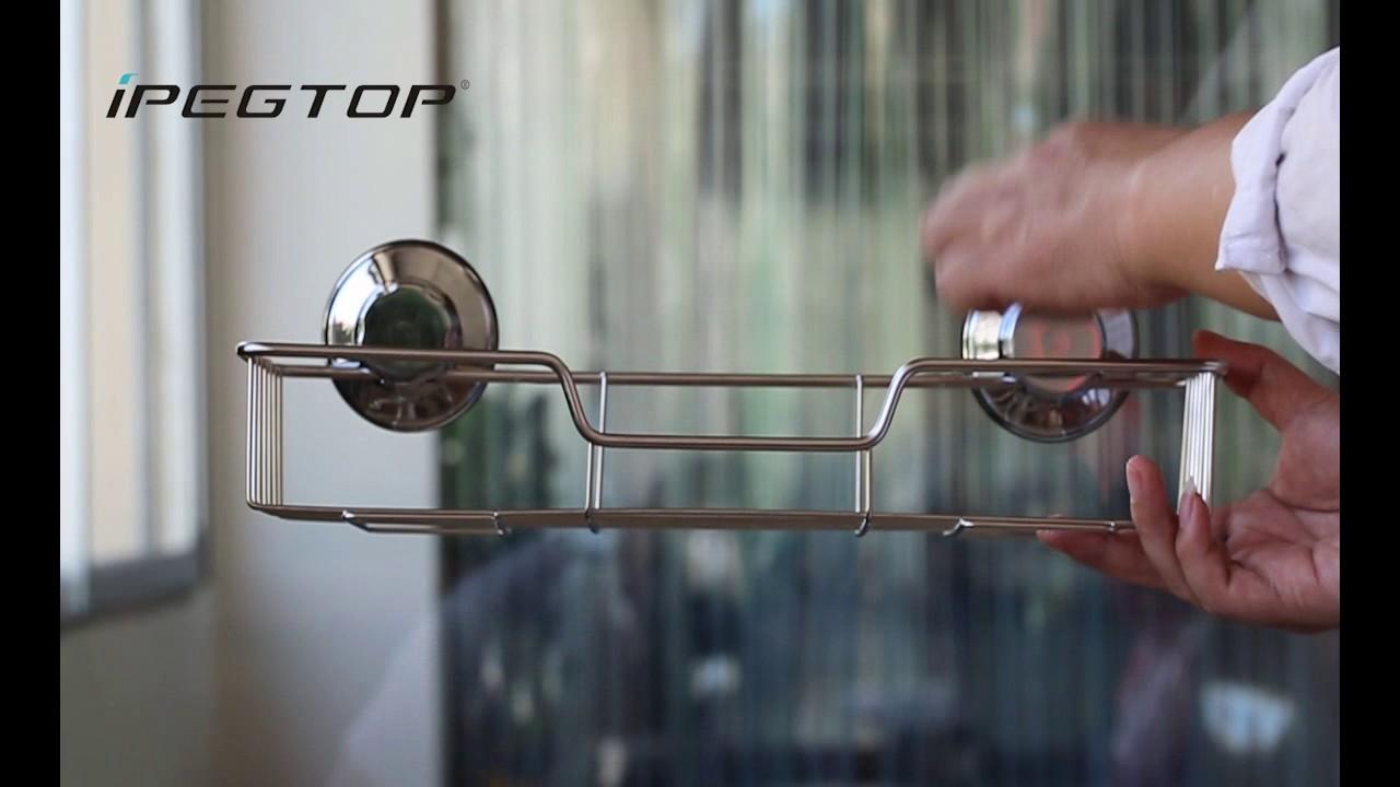 IPEGTOP Rustproof Stainless Steel Bathroom Suction Cup Shower Caddy ...