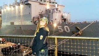On board the ship USS Fort McHenry at Little Creek Naval Base. (video 1 of 3)
