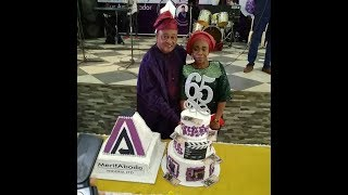 Jide Kosoko snaps with his wifeOga BelloOdunlade Adekolaamp Others at his 65th Birthday